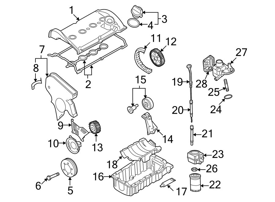 Diagram ENGINE / TRANSAXLE. ENGINE PARTS. for your 1990 Volkswagen Fox GL Sport Sedan